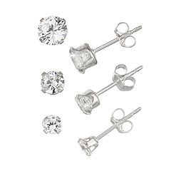 Charming Girl Kids' Sterling Silver Crystal Stud Earring Set - 3 Pair