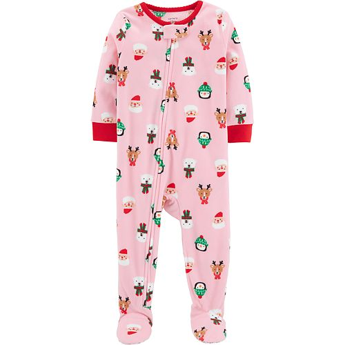 Toddler Girl Carter's Microfleece Christmas Footed Pajamas