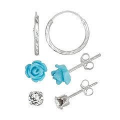 Charming Girl Kids' Sterling Silver Crystal Flower & Hoop Earring Set
