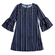 Girls 7-16 Knitworks Striped Lantern Sleeve Dress