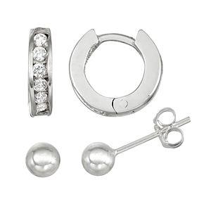 Charming Girl Kids' Sterling Silver Crystal Huggie Hoop & Ball Stud Earring Set