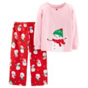 Toddler Girl Carter's Christmas Top & Microfleece Bottoms Pajama Set