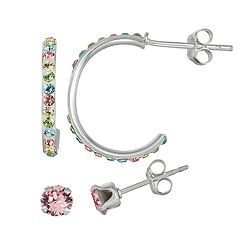 Charming Girl Kids' Sterling Silver Pastel Crystal Hoop  & Stud Earring Set