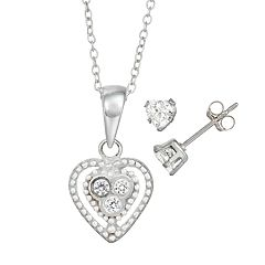 Charming Girl Kids' Sterling Silver Crystal Heart Pendant & Stud Earring Set