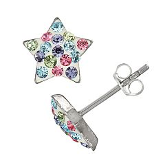 Charming Girl Kids' Sterling Silver Pastel Crystal Star Earrings