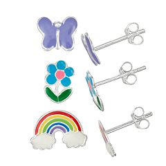 Charming Girl Kids' Sterling Silver Enamel Butterfly, Flower & Rainbow Stud Earring Set