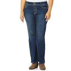 Juniors' Plus Size Wallflower Mid-Rise Bling Bootcut Jeans
