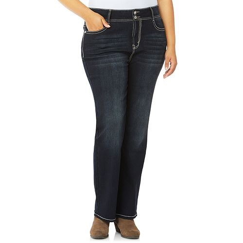 Juniors' Plus Size Wallflower Mid-Rise Bling Bootcut Jeans