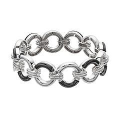 Dana Buchman Silver Tone & Hematite Tone Ring Stretch Bracelet
