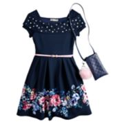 Girls 7-16 Knitworks Off-The-Shoulder Belted Skater Dress & Purse Set