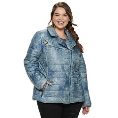 Juniors' Plus Size Pink Envelope Asymmetrical Moto Jacket