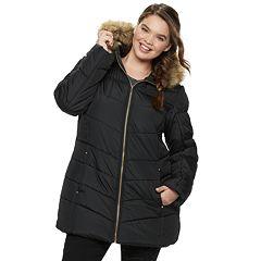 Juniors' Plus Size Pink Envelope Faux-Fur Puffer Jacket