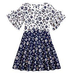 Girls 7-16 My Michelle Contrast Printed Skater Dress