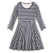 Girls 7-16 My Michelle Lattice Sleeve Striped Dress