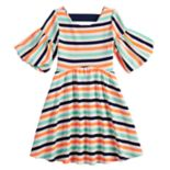 Girls 7-16 My Michelle Flare Sleeve Striped Skater Dress