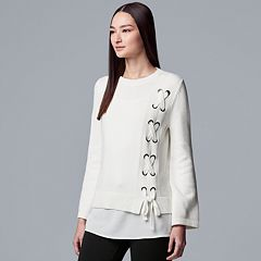 Women's Simply Vera Vera Wang Lace-Up Mock Layer Sweater