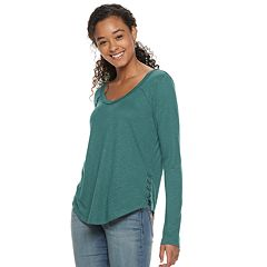 Juniors' Mudd® Lace-Up Side Detail Top