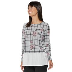Women's ELLE™ Floral Grid Mock-Layer Top