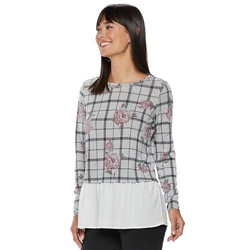 Women's ELLE™ Floral Grid Mock-Layer Top