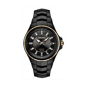 Seiko Men's Coutura Diamond Accent Black Ion-Plated Stainless Steel Solar Watch - SNE506