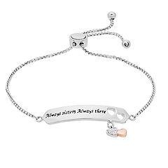 Brilliance Two-Tone 'Always Sisters' Charm Bar Bracelet