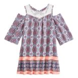 Girls 7-16 My Michelle Cold-Shoulder Printed Swing Dress