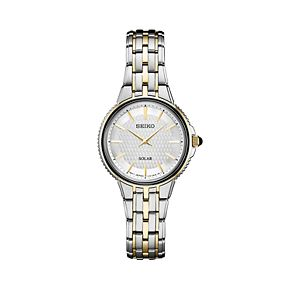 Seiko Women's Two Tone Stainless Steel Solar Watch - SUP394