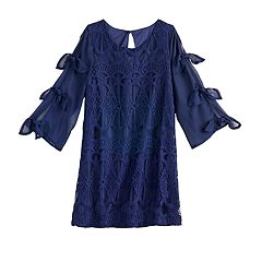Girls 7-16 My Michelle Tie Sleeve Swing Dress