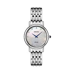 Seiko Women's Diamond Accent Stainless Steel Solar Watch - SUP397