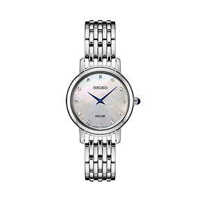 Seiko Women's Diamond Accent Stainless Steel Solar Watch - SUP397