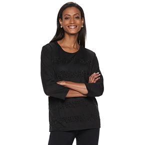 Women's Cathy Daniels Embellished-Stripe Scoopneck Sweater