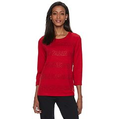Women's Cathy Daniels Embellished-Stripe Scoopneck Sweater