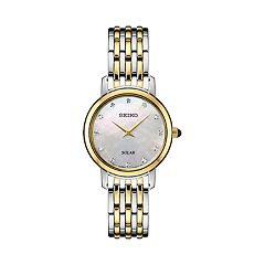 Seiko Women's Diamond Accent Two Tone Stainless Steel Solar Watch - SUP398