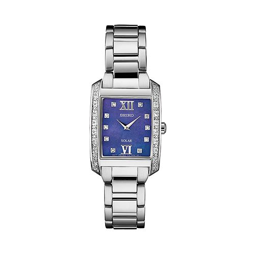 Seiko Women's Diamond Accent Stainless Steel Solar Watch - SUP401