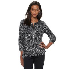 Women's Cathy Daniels  Mosaic-Print Embellished Splitneck Top