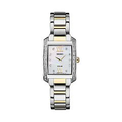 Seiko Women's Diamond Accent Two Tone Stainless Steel Solar Watch - SUP403