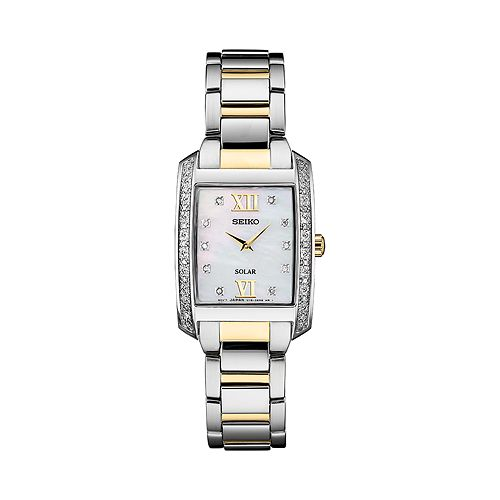 Seiko Women's Diamond Accent Two Tone Stainless Steel Solar Watch - SUP403