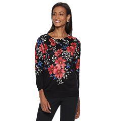 Women's Cathy Daniels Crewneck Floral Sweater