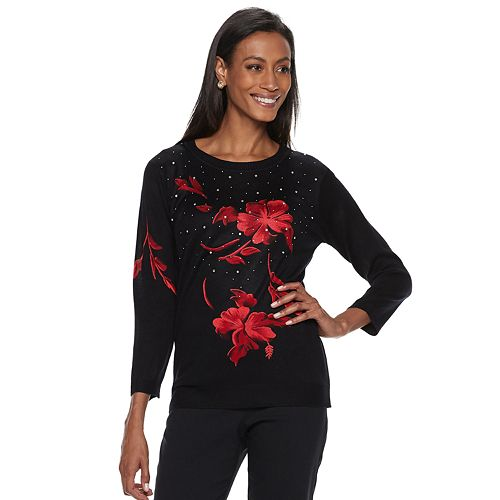 Women's Cathy Daniels Crewneck Floral Sweater