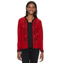 Women's Cathy Daniels Floral Embroidered Mock-Layer Sweater