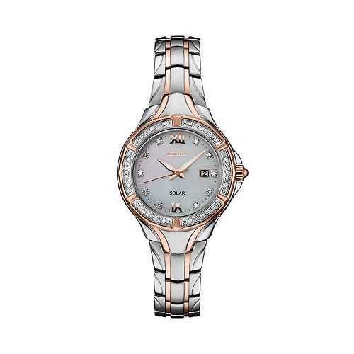 Seiko Women's Diamond Accent Two Tone Stainless Steel Solar Watch - SUT374