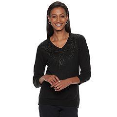 Women's Cathy Daniels Rhinestone Embellished V-Neck Sweater