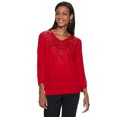 Women's Cathy Daniels Rhinestone Embellished V-Neck Sweater