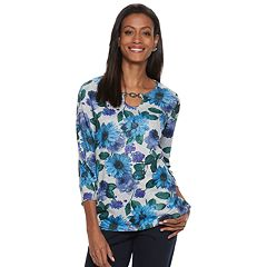 Women's Cathy Daniels Print Metal-Accent Top