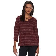 Women's Cathy Daniels Lurex-Stripe Keyhole Top