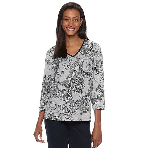 Women's Cathy Daniels Foiled Paisley Top
