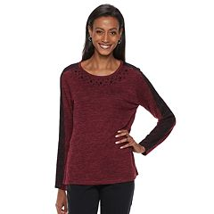 Women's Cathy Daniels Embellished Lace-Sleeve Top