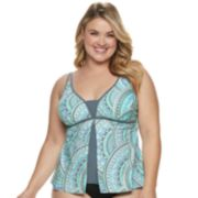 Plus Size Free Country Print Flyaway Swim Tankini Top