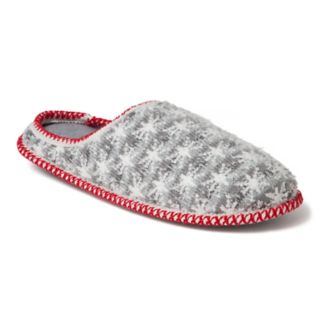 Men's Dearfoams Family Snowflake Striped Knit Clog Slippers