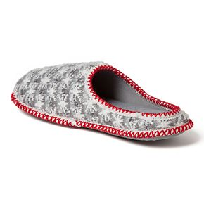 Men's Dearfoams Family Snowflake Striped Knit Clog Slippers